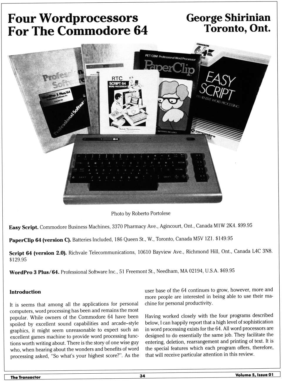 [Four Wordprocessors for the Commodore 64 (2/10)]
