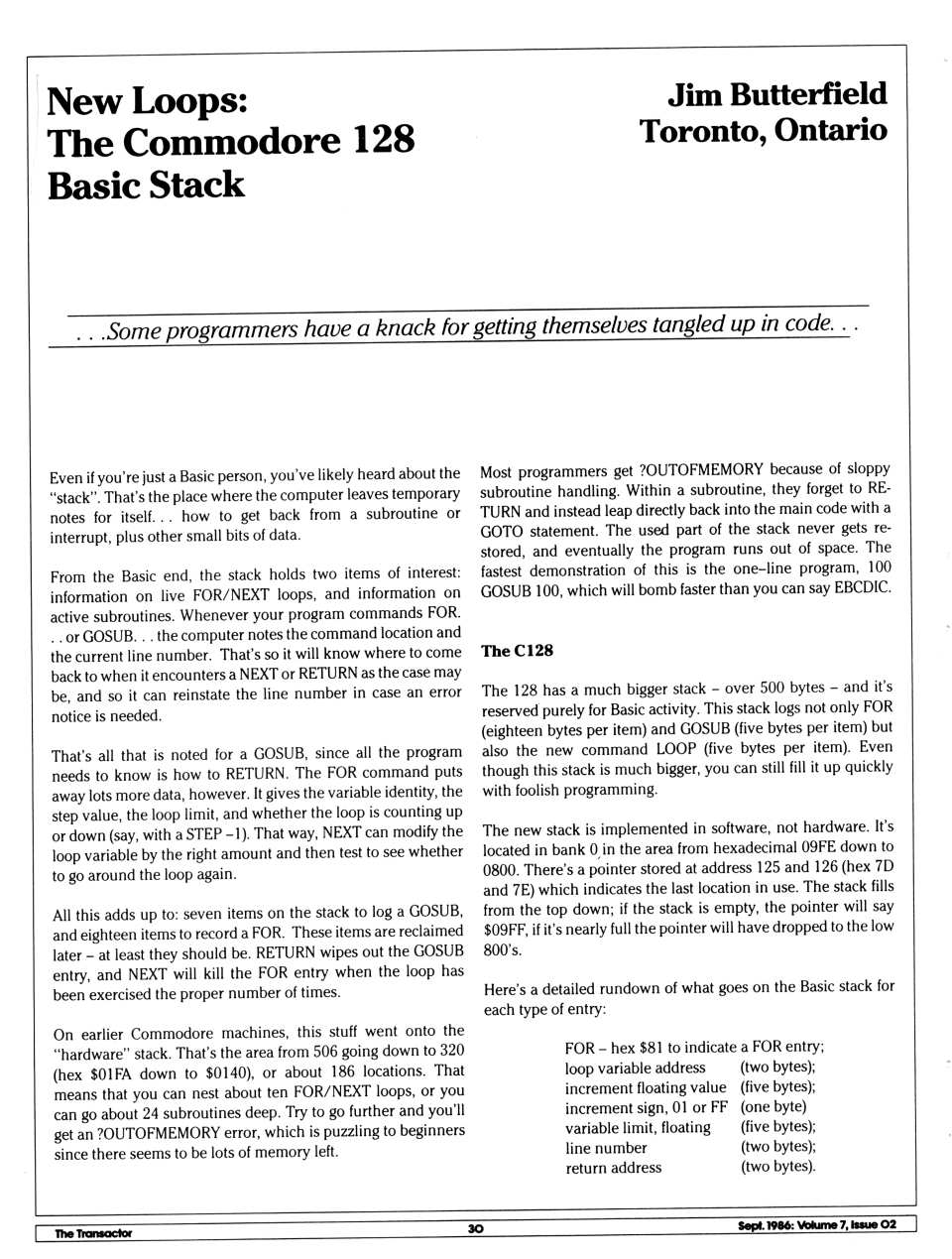 [New Loops: The Commodore 128 Basic Stack (1/3)]