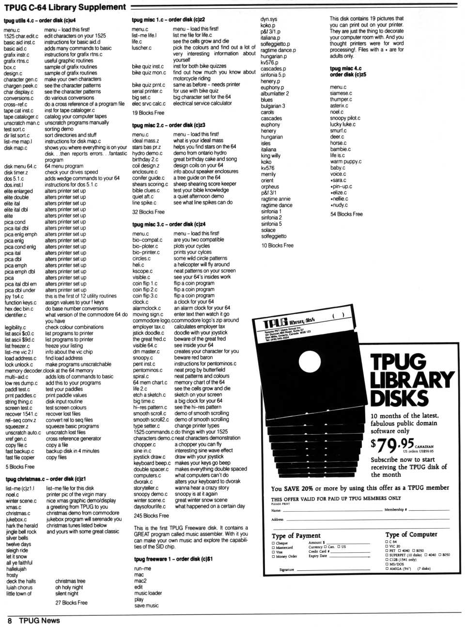 [TPUG News, Volume 1, Number 1, page 8  TPUG C-64 Library Supplement (4/4)]