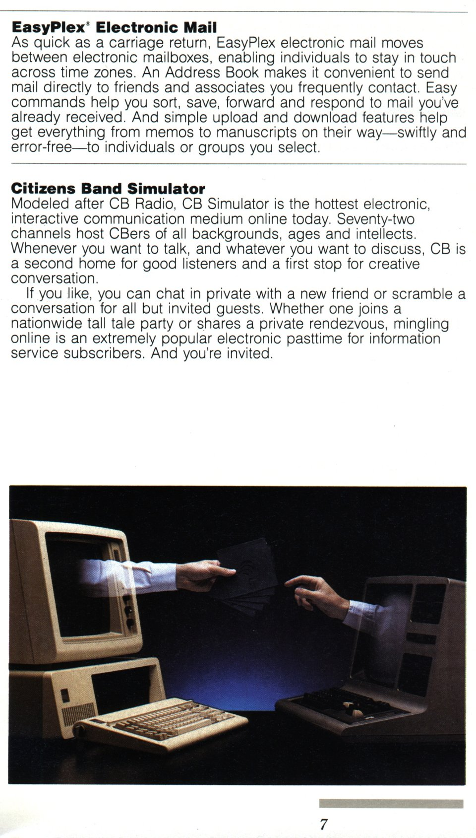 [CompuServe IntroPak page 7/44  EasyPlex Electronic Mail  Citizens Band Simulator]