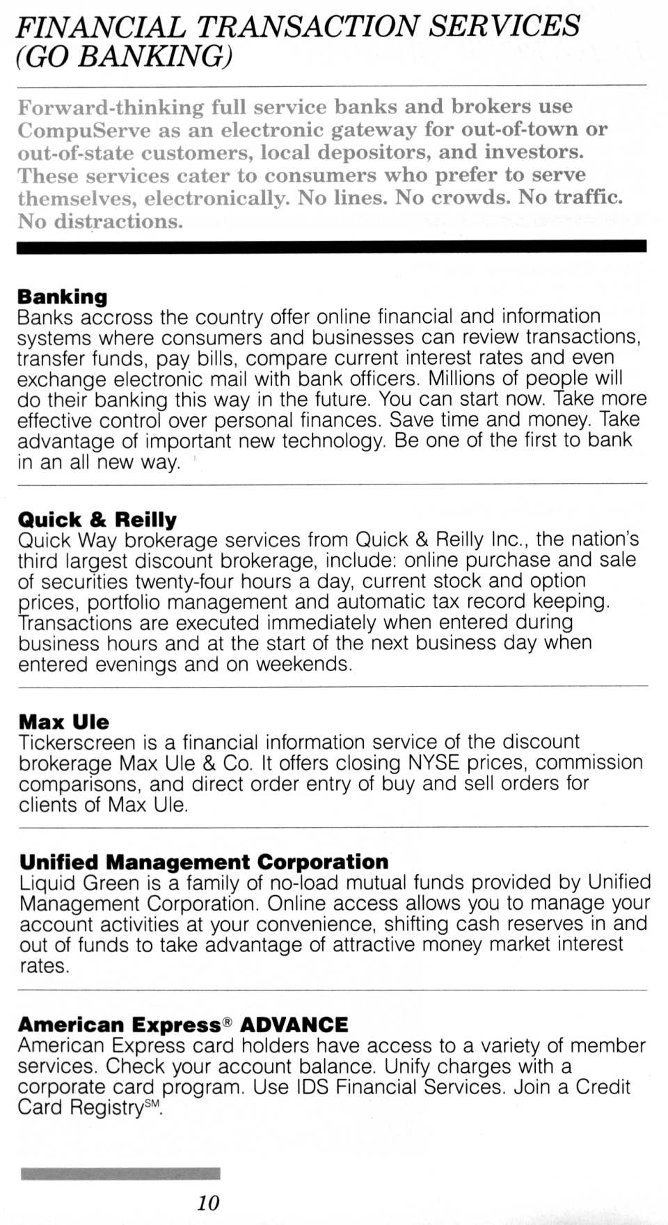 [CompuServe IntroPak page 10/44  Financial Transaction Services (GO BANKING)]