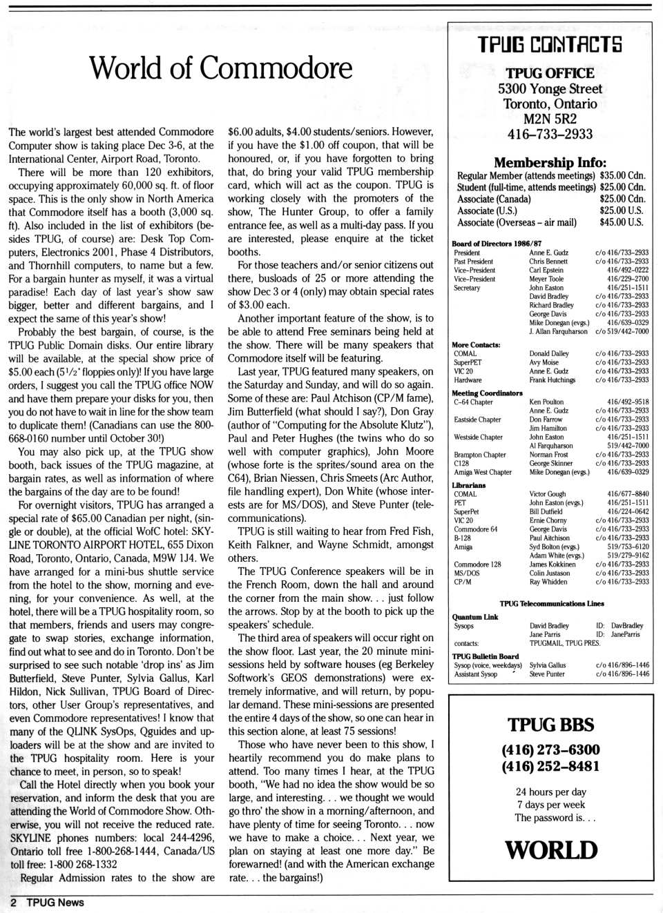 [TPUG News, Volume 2, Number 1, page 2  World of Commodore]